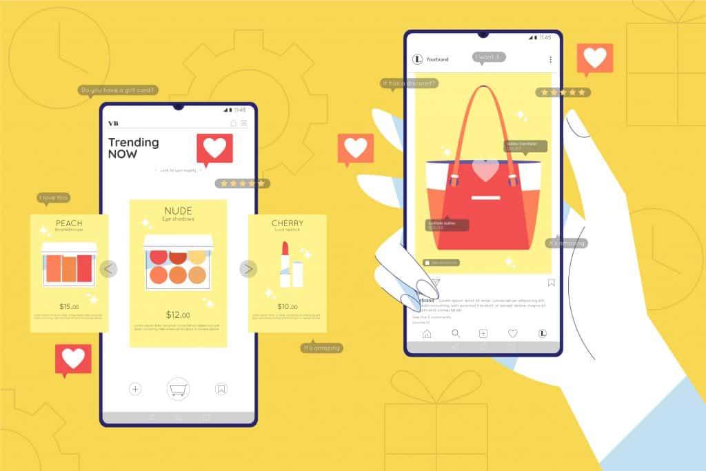 Illustration d'une main utilisant un smartphone pour faire du shopping.