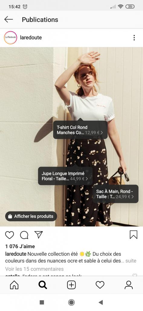 Exemple de publication Instagram Shopping.
