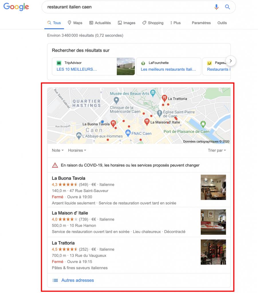Capture écran d'une page de résultats de recherche Google indiquant où se trouvent les résultats de recherche SEO local.