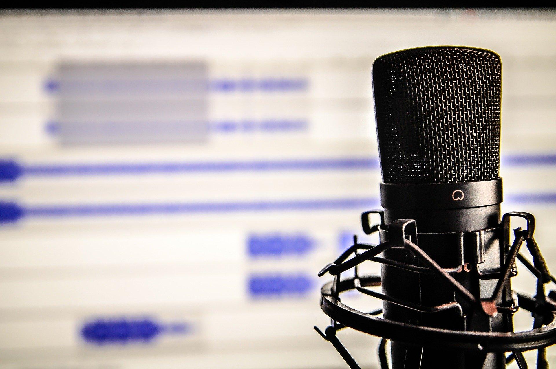 Microphone et logiciel de montage audio.