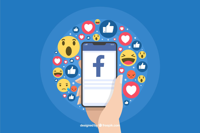 Personnage tenant un smartphone dans une main. Plusieurs réactions Facebook sont visibles.