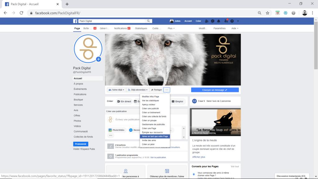 Aimer une page Facebook en tant que page.