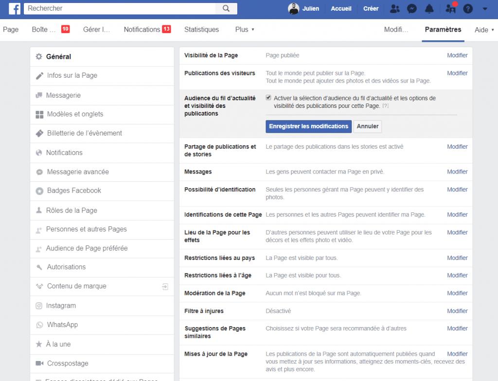 """Capture écran des paramètres Facebook """"Audience du fil d'actualité et visibilité des publications""""."""