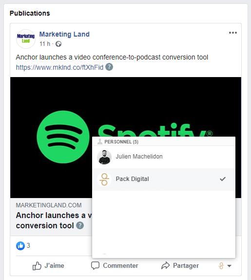 Interagir avec une publication Facebook en tant que page.