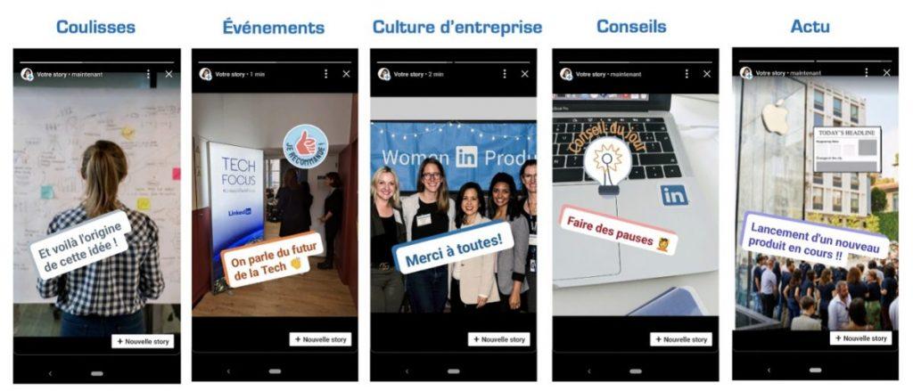 Exemple de stories LinkedIn.