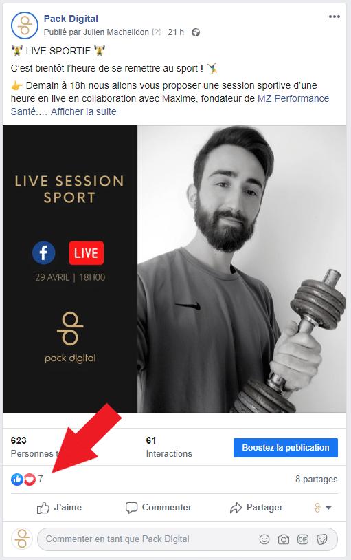 Capture écran d'une publication Facebook montrant l'emplacement de l'hyperlien qui indique le nombre de personne ayant interagi avec votre publication.