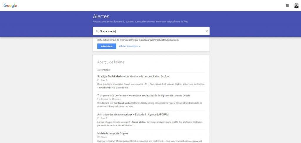 Google alerts.