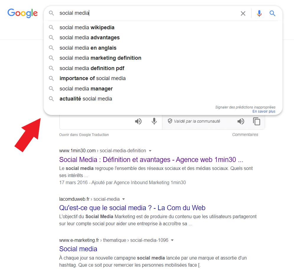 Identifiez les requêtes des internautes via Google Suggest (requêtes suggérées).
