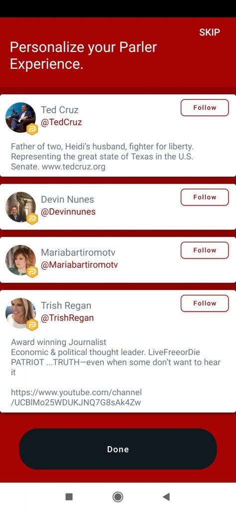 Parler : une plateforme similaire à Twitter.