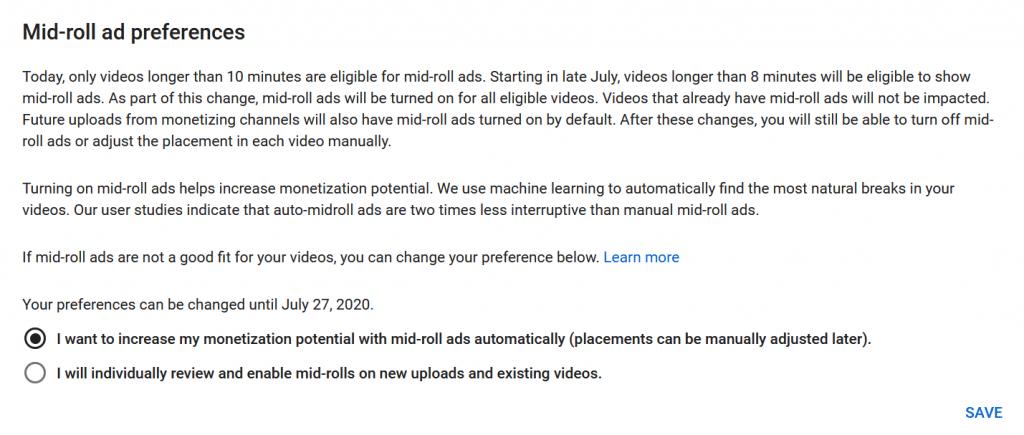Youtube réduit la durée minimum des vidéos éligibles aux coupures publicitaires à 8 minutes.